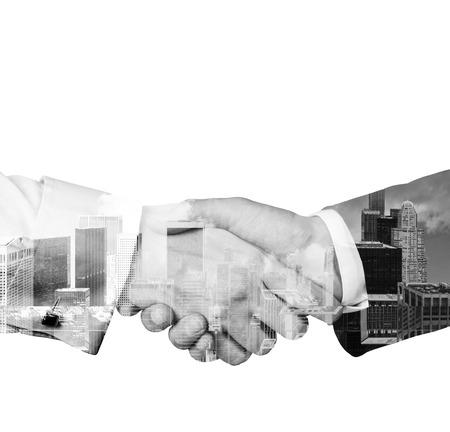 black handshake: A stylish white black handshake with New York cityscape. Isolated on white.