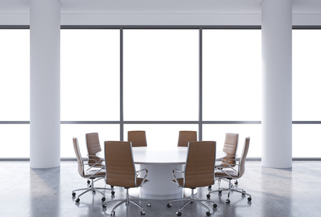 round chairs: Panoramic conference room in modern office, cope spacy view from the windows. Brown chairs and a white round table. 3D rendering.