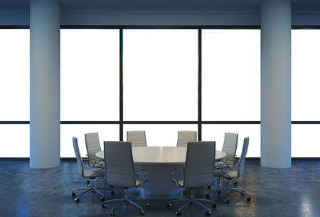round chairs: Panoramic conference room in modern office, copy space view from the windows. White chairs and a white round table. 3D rendering. Stock Photo