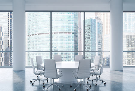 corporate consulting: Panoramic conference room in modern office, Moscow International Business Center view. White chairs and a white round table. 3D rendering.