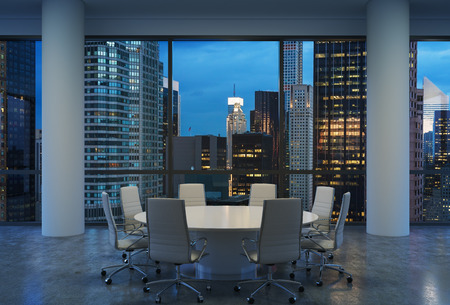 round chairs: Panoramic conference room in modern office, cityscape of New York skyscrapers at night, Manhattan. White chairs and a white round table. 3D rendering.