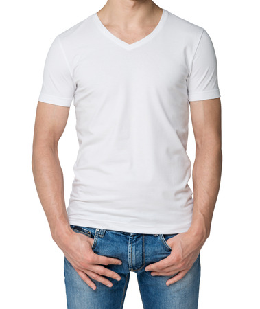 hooked up: Young man in a white V shape t-shirt, hands in pockets. Isolated.