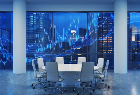 round chairs: Panoramic conference room in modern office, cityscape of New York skyscrapers at night, Manhattan. Financial chart is over the cityscape. White chairs and a white round table. 3D rendering.