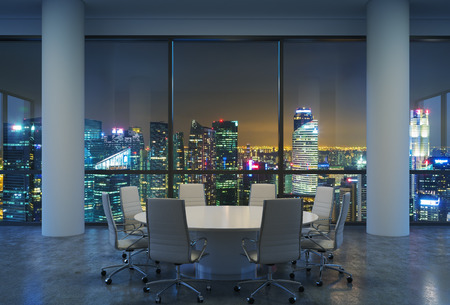 round chairs: Panoramic conference room in modern office, cityscape of Singapore skyscrapers at night. White chairs and a white round table. 3D rendering.