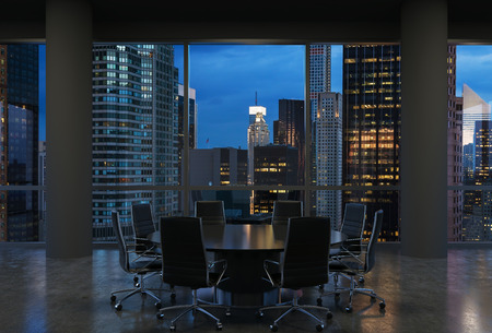 round chairs: Panoramic conference room in modern office, cityscape of New York skyscrapers at night, Manhattan. Black chairs and a black round table. 3D rendering.