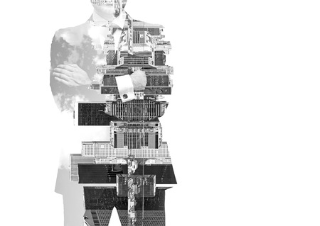 new york cityscape: Abstract black and white ImagAbstract black and white Image of transparent businessmans Silhouettes. New York cityscape. Isolated.e of transparent businessmans Silhouettes. New York cityscape. Isolated.