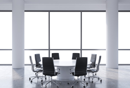round chairs: Panoramic conference room in modern office, copy space view from the windows. Black chairs and a white round table. 3D rendering.