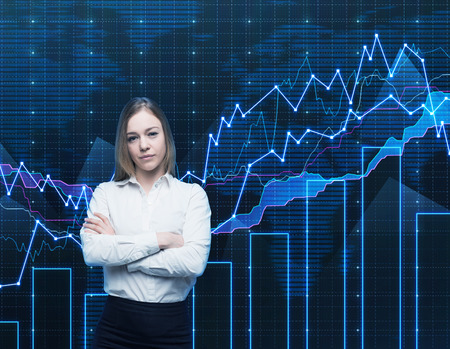 formal shirt: Closeup of beautiful portfolio manager with crossed hands in formal shirt. A concept of decision making process in finance. Forex chart is on the background.