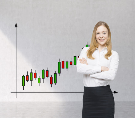 forex: A smiling beautiful trader and forex chart with candles. A concept of prosperous portfolio manager.