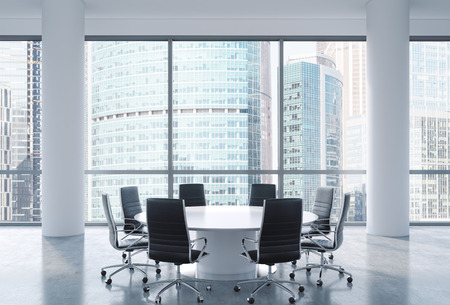 international business center: Panoramic conference room in modern office, Moscow International Business Center view. Black chairs and a white round table. 3D rendering.