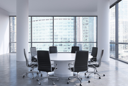 round chairs: Panoramic conference room in modern office in Moscow business centre, so-called Moscow-City. White chairs and a white round table. 3D rendering.