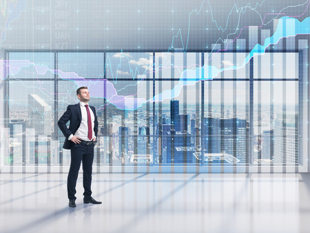 new york city panorama: Full-length confident person in formal suit. A modern panoramic office with New York city view and forex chart. A concept of the asset management. Stock Photo