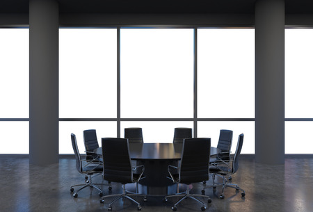 round chairs: Panoramic conference room in modern office, copy space view from the windows. Black chairs and a black round table. 3D rendering.