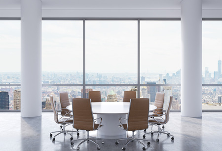 decisionmaking: Panoramic conference room in modern office, New York city view. Brown chairs and a white round table. 3D rendering.