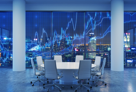 forex: Panoramic conference room in modern office, cityscape of skyscrapers at night. Financial chart is over the cityscape. White chairs and a white round table. 3D rendering. Stock Photo