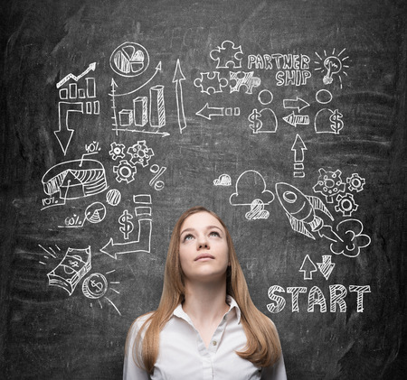 person thinking: Beautiful young lady is thinking about business opportunities. A concept of brainstorm. Business icons are drawn behind the person on the black chalkboard. Stock Photo