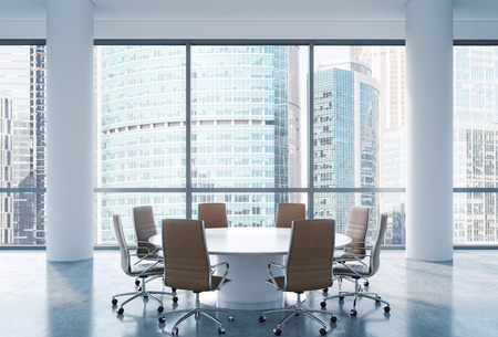 Panoramic conference room in modern office, Moscow International Business Center view. Brown chairs and a white round table. 3D rendering.