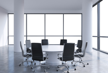 round table conference: Panoramic conference room in modern office, copy space view from the windows. Black chairs and a white round table. 3D rendering.