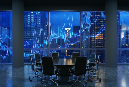 Panoramic conference room in modern office, cityscape of New York skyscrapers at night, Manhattan. Financial chart is over the cityscape. Black chairs and a black round table. 3D rendering. Foto de archivo