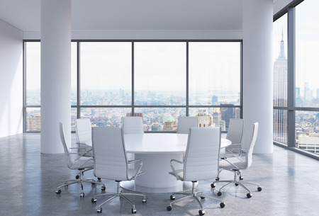 company premises: Panoramic conference room in modern office in New York City. White chairs and a white round table. 3D rendering.
