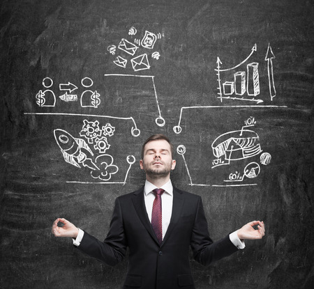 business contact: Meditative businessman is thinking about business development measures. Charts, pie chart, business icons are drawn on the black chalkboard.