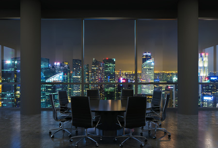 Panoramic conference room in modern office, cityscape of Singapore skyscrapers at night. Black chairs and a black round table. 3D rendering.