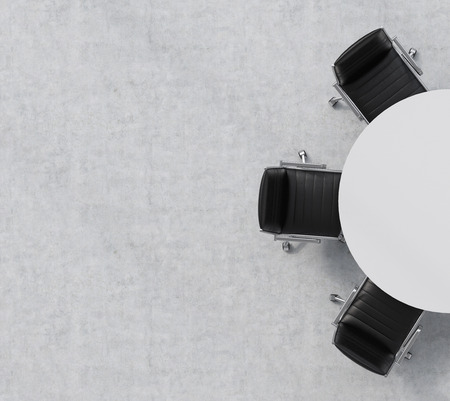 chair: Top view of a half of the conference room. A white round table, three black leather chairs. Office interior. 3D rendering.