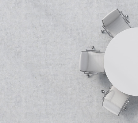 silla: Vista superior de una mitad de la sala de conferencias. Una mesa redonda blanca, tres sillas de cuero blanco. Interior de la oficina. representación 3D.