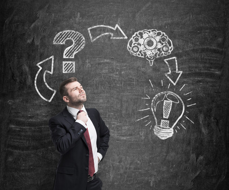 Businessman constructs a decision making procedure. The consequence of decision making process are drawn on the wall.