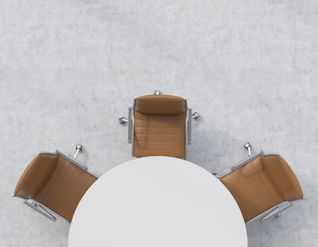 Top view of a half of the conference room. A white round table, three brown leather chairs. Office interior. 3D rendering. Stock Photo