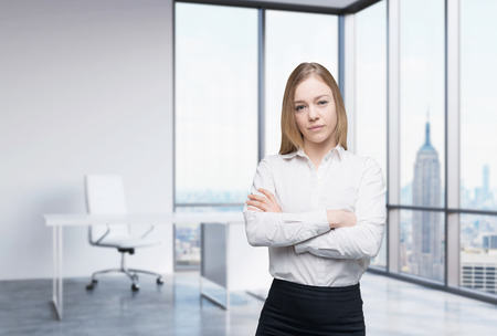 window view: A beautiful business woman in a workplace at modern panoramic office in New York, Manhattan. A concept of financial consulting services.