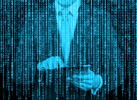 holograph: Digital hologram in a matrix style. A man with tablet is browsing data in the Internet. Blue.