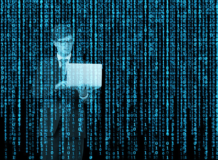 binary matrix: Digital hologram in a matrix style. A person with laptop is browsing data in the Internet. Blue. Stock Photo