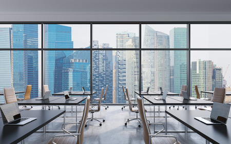 office training: Workplaces in a modern panoramic office, Singapore city view from the windows. Open space. Black tables and brown leather chairs. A concept of financial consulting services. 3D rendering.