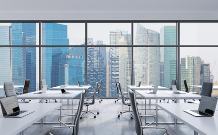 business centre: Workplaces in a modern panoramic office, Singapore city view from the windows. Open space. White tables and black leather chairs. A concept of financial consulting services. 3D rendering.