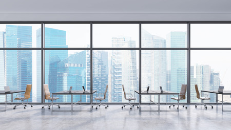 panorama city panorama: Workplaces in a modern panoramic office, Singapore city view. Open space. Black tables and brown leather chairs. A concept of financial consulting services. 3D rendering. Stock Photo
