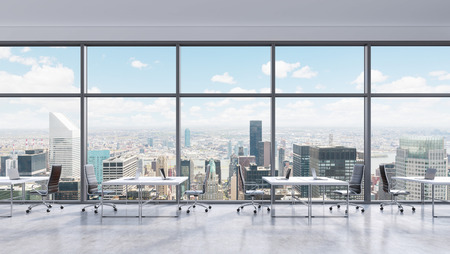 conference center: Workplaces in a modern panoramic office, New York city view in the windows, Manhattan. Open space. White tables and black leather chairs. A concept of financial consulting services. 3D rendering. Stock Photo