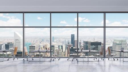 oficina: Los lugares de trabajo en una oficina moderna panorámica, vista a la ciudad de Nueva York en las ventanas, Manhattan. Espacio abierto. Mesas negras y sillas de cuero marrón. Un concepto de servicios de consultoría financiera. Representación 3D.