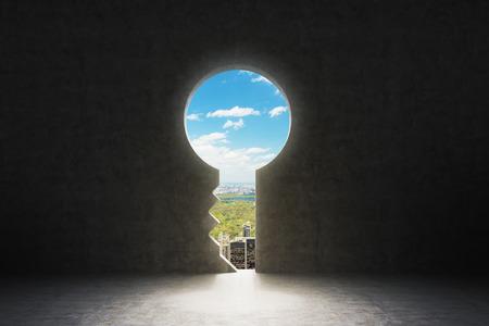 콘크리트 벽에 열쇠 구멍. 뉴욕시는 구멍에 볼 수 있습니다. 스톡 콘텐츠 - 46167555