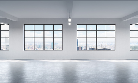 open windows: Modern bright clean interior of a loft style open space. Huge windows and white walls. New York panoramic city view. 3D rendering.