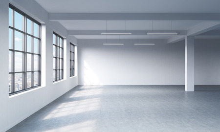 highkey: Modern bright clean interior of a loft style open space. Huge windows and white walls. New York panoramic city view. 3D rendering.