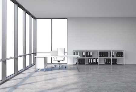 A workplace in a modern corner panoramic office with copy space in the windows. A white desk with a laptop, white leather chair and a bookshelf with black document folders. 3D rendering.