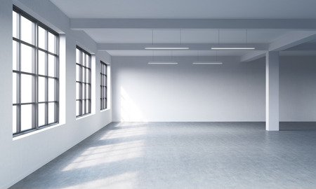 perspective room: Modern bright clean interior of a loft style open space. Huge windows and white walls. Copy space the panoramic windows. 3D rendering.
