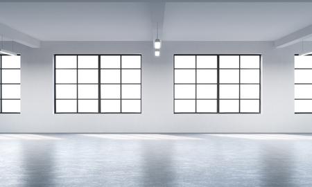 로프트 스타일의 열린 공간의 현대 밝고 깨끗한 인테리어. 거대한 창문과 흰 벽. 공간을 탁 트인 창을 복사합니다. 3D 렌더링.