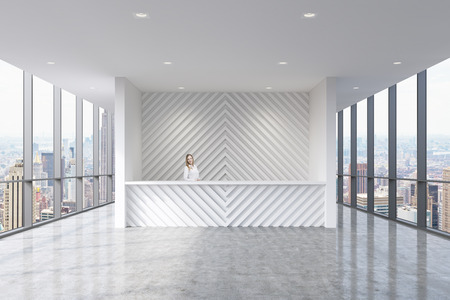view of an atrium in a building: A reception area in a modern bright clean office with beautiful receptionist. Huge panoramic windows with New York city view. A concept of boutique consulting services.