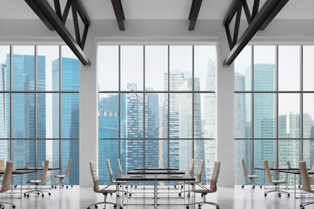 company premises: Modern workplaces in a modern bright clean interior of a loft style office. Huge windows with Singapore panoramic view. Black desks equipped with laptops, brown leather chairs. 3D rendering.