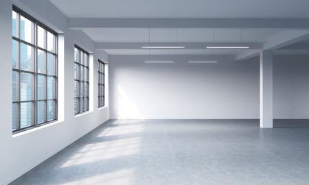 Moderne intérieur propre lumineux d'un espace ouvert de style loft. D'immenses fenêtres et des murs blancs. Singapour vue panoramique sur la ville. Rendu 3D. Banque d'images