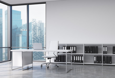 A CEO workplace in a modern corner panoramic office with Singapore city view. A white desk with a laptop, white leather chair and a bookshelf with black document folders. 3D rendering.