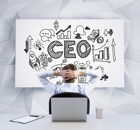 Rear view of a sitting ambitious young professional is looking at the whiteboard with a chart, in a central part of the chart is acronym CEO. A writing pad and a cup of coffee are on the table.