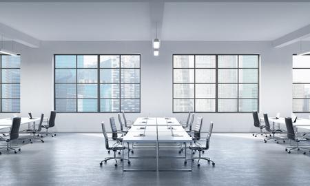 superficie: Una sala de conferencias o lugares de trabajo corporativos equipados por los ordenadores portátiles modernos en una oficina panorámica moderno en Singapur. Sillas de cuero negro y una mesa blanca. Representación 3D.